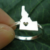 Idaho ID State Ring with Heart Love - Any State Ring