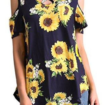 Hibluco Womens Casual Off Shoulder Tops Lace up Blouses Floral Tunic Shirts
