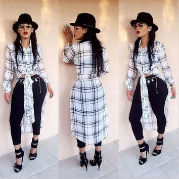 Plaid Print Sides Split Long Blouse
