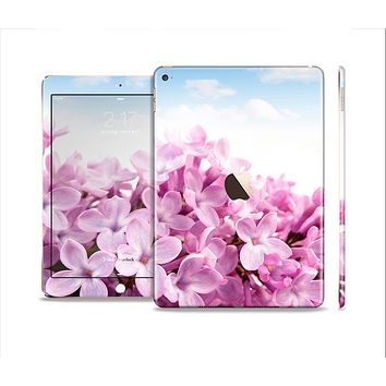 The Blue Sky Pink Flower Field Skin Set for the Apple iPad Air 2