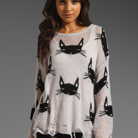 Wildfox Couture Cat Face Lennon Sweater in Grey Gardens from REVOLVEclothing.com