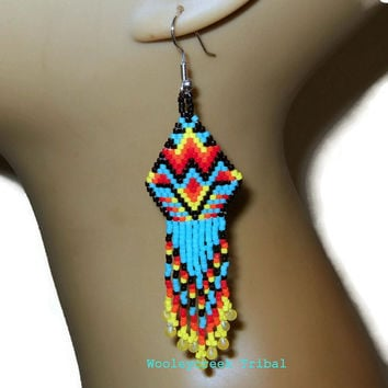 Tribal Beaded Bold and Beautiful Earrings In Brick Stitch With Fringe