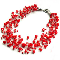 Red Necklace. Multistrand Necklace. Bridesmaid Necklace. Bridal Necklace. Beadwork.