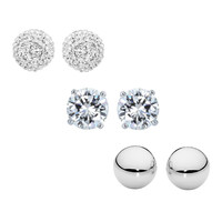 Sevil 925 Cubic Zirconia & Austrian Crystal Pavé Stud Earrings Set | zulily