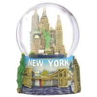 "New York City Snow Globe Featuring the NYC Skyline in this Souvenir Figurine with Statue of Liberty, 2.5"" Tall (45mm)"