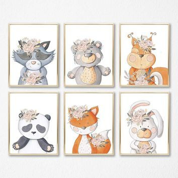 WOODLAND ANIMALS Nursery Prints, Girl Woodland Nursery Decor, Girl Woodland Animals Nursery Wall Art, Watercolor Animal Canvas or Prints Art