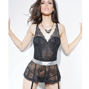 Spellbound Stretch Lace Peplum Corset W-removable Ribbon Belt & Garters Black-silver Md