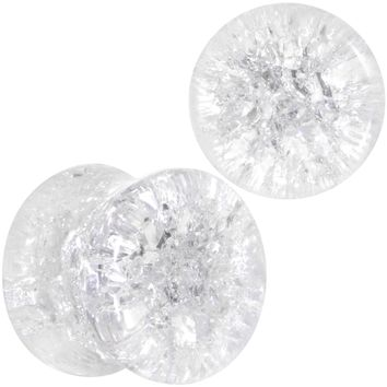00 Gauge Clear Shattered Glass Saddle Plug Set