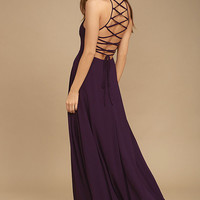 Strappy to be Here Purple Maxi Dress
