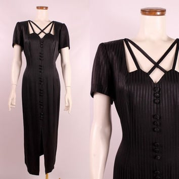 Vintage 80s 90s - Black Satiny Stripe - Strappy Criss Cross Cage Collar - Button Up Fitted Hourglass Long Maxi Dress - Goth