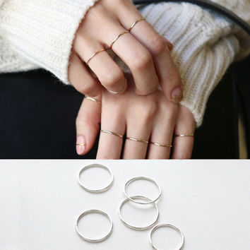 925 Sterling Silver Ring Fashion Simple Smooth Fine Ring Thin Little finger Ring For Women Jewelry