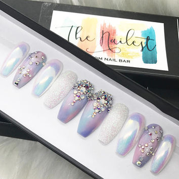 Unicorn Chrome Swarovski Crystal Pastel Iridescent Glitter Press On Nails | Unicorn| Any Shape | Fake Nails | False Nails | Glue On Nailes