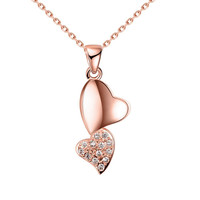 Rose Gold Plated Dangling Hearts Necklace