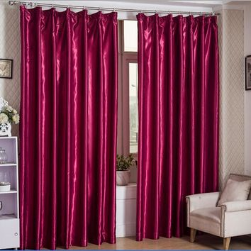 Customized Modern Immitation Silk Blackout Window Curtains Drapes for Bedroom Living Room Kitchen