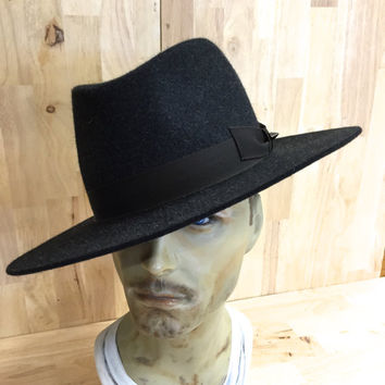 charcoal grey heathered wide brim fedora with stud accent