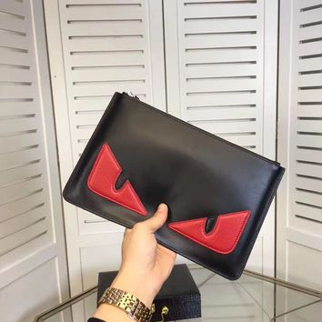 Fendi Men's Top Leather Zipper Hand Bag