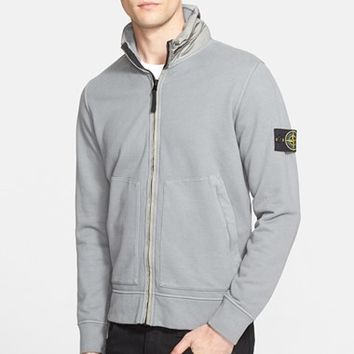 Men's Stone Island Full Zip Sweatshirt with Hidden Hood,