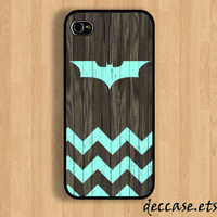 IPHONE 5 CASE Mint chevron Batman Logo on dark wood by DecCase