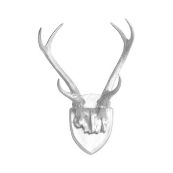 Antler Wall Mount | Deer Antler Rack | Faux Taxidermy | Silver Resin