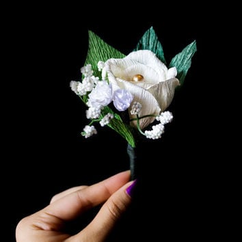 Wedding boutonniere,Prom boutonniere, rose boutineer, prom flowers, wedding flowers, groomsmen boutonniere, boutonniere,wedding boutineer