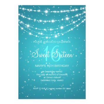 Sweet Sixteen Party Sparkling Chain Blue Custom Invitation from Zazzle.com