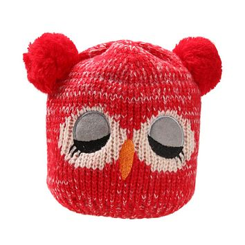 Baby Caps Children's Winter Warm Hats For Boys Girls Kids Hat Scarf Set Knitted Cartoon Owl Hats for Children