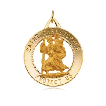 14k Yellow Gold St. Christopher Medal Charm, 1 Inch (25mm)