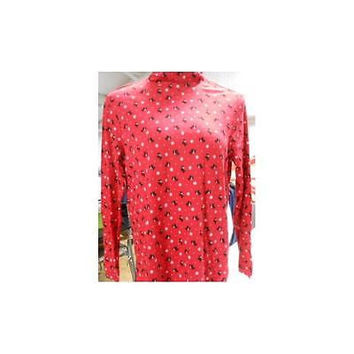 Women's Long Sleeve Mock Turtleneck Printed Top, Red, Large White Stag