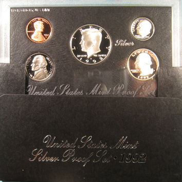 Proof Coin Set, 1992 US Proof Coins, JFK Silver Half Dollar, Coin, Kennedy Silver Proof Coin Set Proof Silver Coins Kennedy Silver Proof