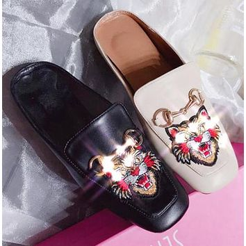 New Trending Women Stylish Tiger Embroidery Half Slipper Mules Shoes Slippers I12508-1