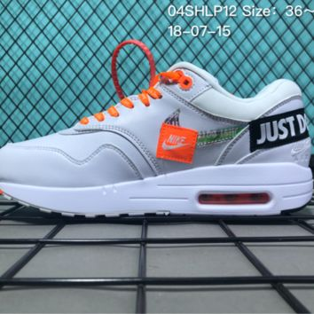 AUGUAU N083 Nike Air Max 87 Zero QS X Off White Just Do It Causal Running Shoes White Orange