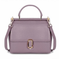 Retro Style Lavender Leather Tote. Genuine Leather Light Purple Purse.Casual Weekend Bag
