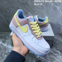 HCXX N1407 Nike Air Force 1 AF1 Retro Stitching Sneakers White Yellow