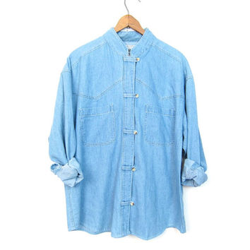 Kimono Styled Jean Shirt Vintage 90s Light Blue Denim Knot Button Up Shirt DELLS Boho Hipster Minimal Collarless Denim Womens Shirt Medium