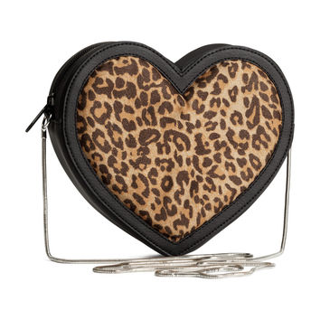 H&M - Heart-shaped Shoulder Bag - Leopard print - Ladies