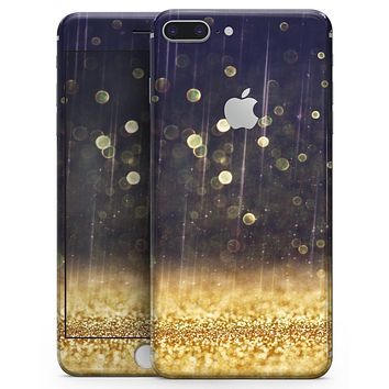 Raining Gold and Purple Sparkle - Skin-kit for the iPhone 8 or 8 Plus