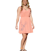 Women's Country Side All Antlers V-Neck Coral Dress