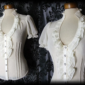 Gothic Cream Sheer Frilled VICTORIAN GOVERNESS High Neck Blouse 6 8 Vintage