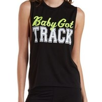 Baby Got Track Graphic Open Back Muscle Tee