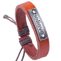 Handmade Genuine Leather Wrap Bracelet with Believe Charm Light Brown:Amazon:Jewelry