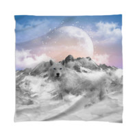 The Soul That Sees Beauty (Winter Moon / Wolf Spirit) Scarf / Mini Wall Tapestry created by soaringanchordesigns | Print All Over Me