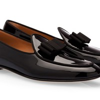Black Patent Leather Bowtie Loafers