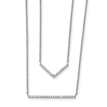 925 Sterling Silver Rhodium-Plated Cubic Zirconia Double Bar Multi-Strand Necklace 16 Inch
