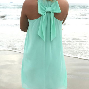 Mint Green Sleeveless Mini Dress with Ribbon