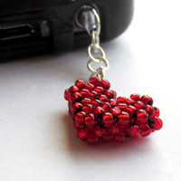 Red Heart Dust Plug, Beaded Phone Charm, Earphone Cap, Anti-Dust Plug, Phone Bling, Headphone jack, Christmas Stocking Stuffer, Pluggy