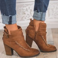 High Class Strappy Booties (Tan)