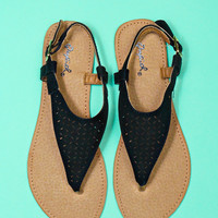 Glad We Met Sandal - Black