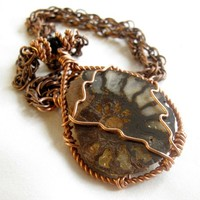 Fossilized Nautilus Wire wrapped Necklace in Copper Statement Piece
