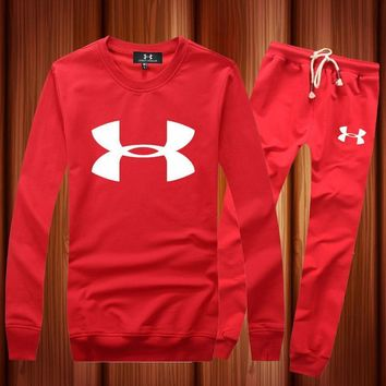 One-nice™ Under Armour Woman Men Long Sleeve Shirt Top Tee Pants Trousers Set Two-Piece Sportswear