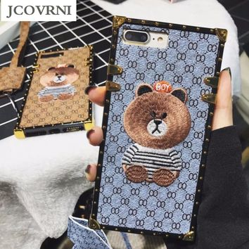 JCOVRNI Luxury Brand Embroidery for iPhone 7 7plus Panda Animal Pattern Phone Case for iPhone 6 6plus Hard Back Cover